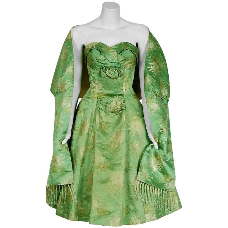 1950's Sage-Green Metallic Floral Silk Strapless Full-Skirt Party Dress & Shawl