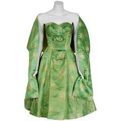 1950's Sage-Green Metallic Floral Silk Strapless Full-Skirt Party Dress & Shawl