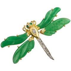 Hattie Carnegie Signed Tremblant  Faux Jade Dragonfly Brooch Pin