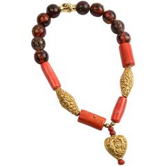 Stunning Antique Tibetan  Amber Coral Turquoise Bead Pendant Necklace