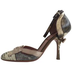Alaia Lizard d'Orsay Heel (36.5) with bow detail on heel