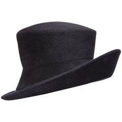 Philip Treacy Navy Blue Wool Felt Hat