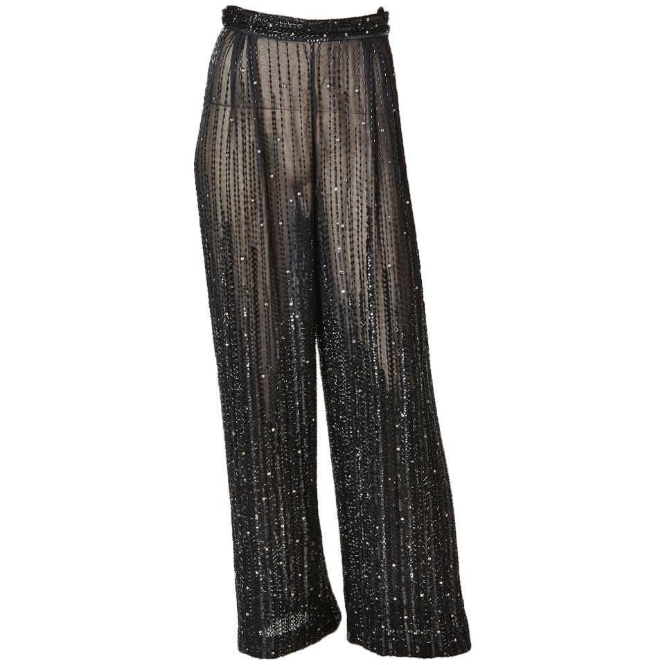 Valentino Boutique Black Silk Taffeta and Velvet Wide Leg Palazzo ...