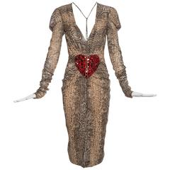 Dolce & Gabbana Silk Snake Print Dress With Diamanté Heart, Spring 2005