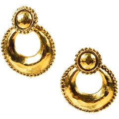 Vintage Chanel Gold Tone Hammered Convertible Hoop Clip On Earrings