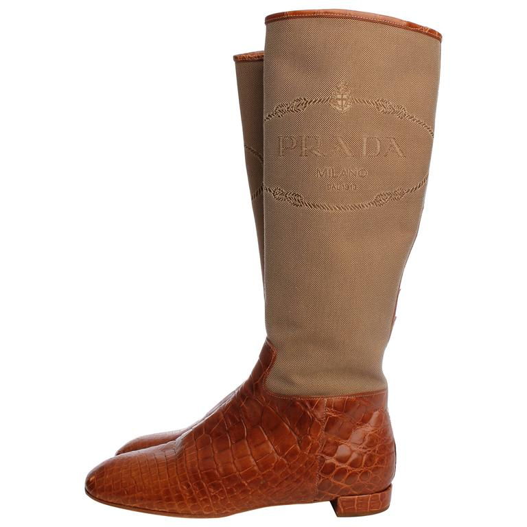 Prada Crocodile Leather and Jacquard Canvas Boots - camel