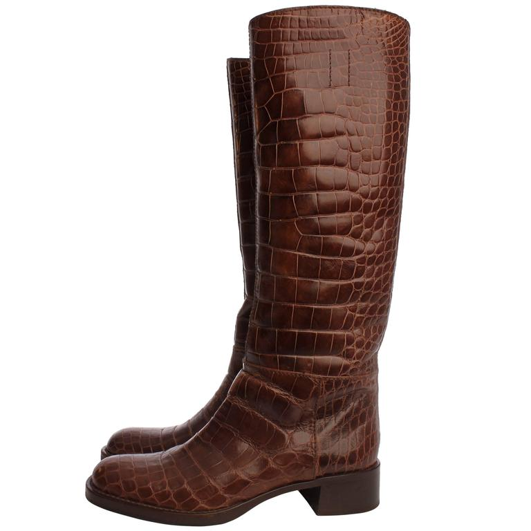 Prada Boots Crocodile Leather - brown 1