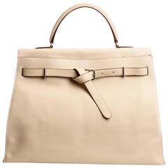 Hermès Kelly Flat Bag 35 Biscuit Swift Leather - palladium plated