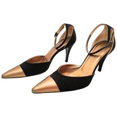 Chanel Shoes - Black and Gold Heels - Size 37.5