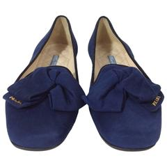Prada Navy Suede Loafers with Bow Detail