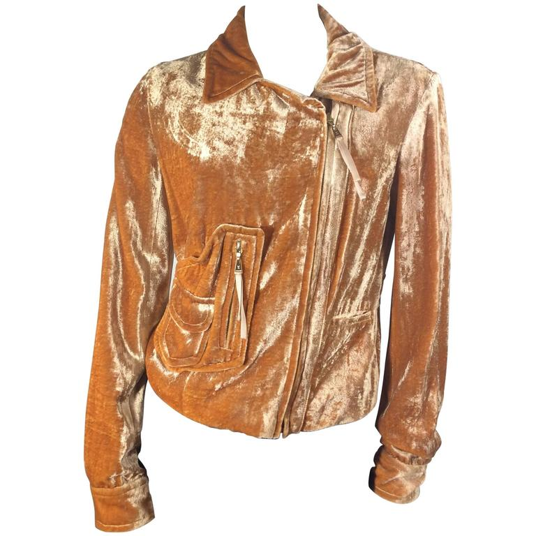 ba374db896c1a Louis Vuitton Rust Colored Crushed Velvet Moto Jacket For Sale at 1stdibs