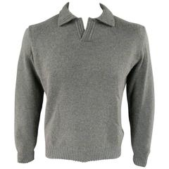 Men's LORO PIANA Size M Green Blend Cashmere Ribbed Collar Pullover