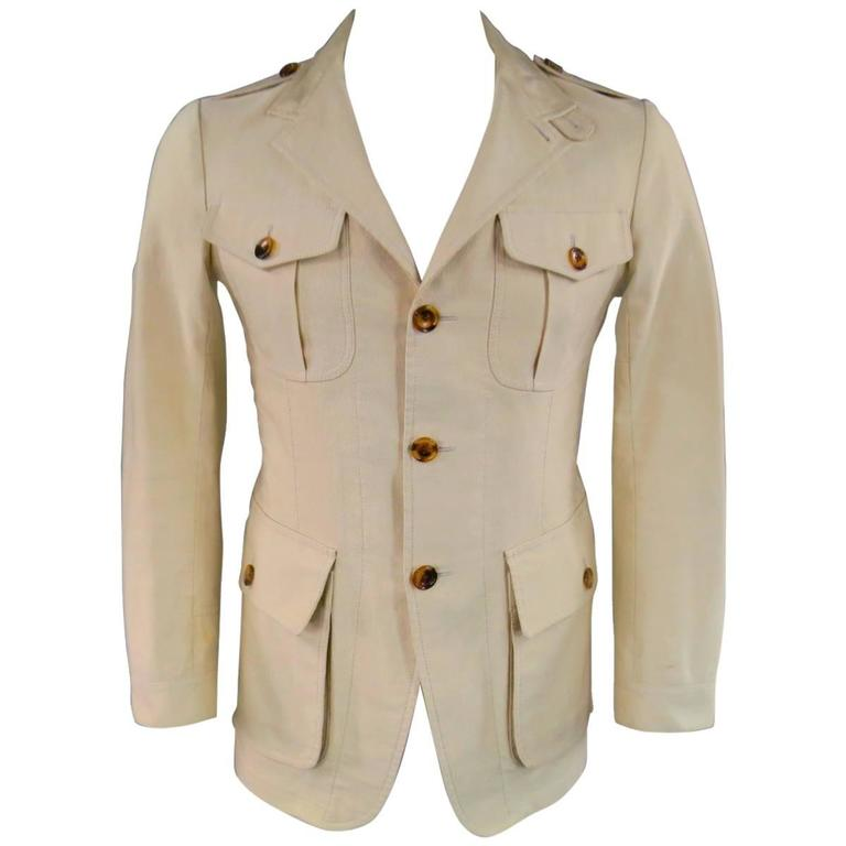 Tom Ford Men S 38 Khaki Beige Cotton Faille Patch Pockets Safari