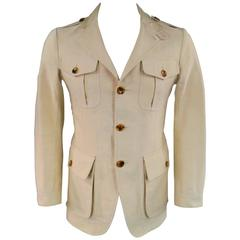 Tom Ford Men's 38 Khaki Beige Cotton Faille Patch Pockets Safari Jacket