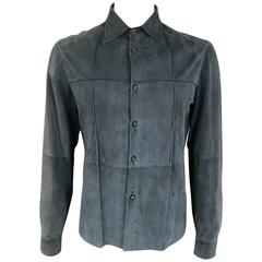 Men's JIL SANDER 40 Navy Suede Collared Windowpane Seam Shirt Jacket
