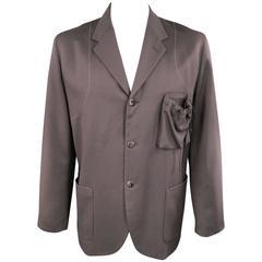 Men's GIULIANO FUJIWARA 44 Oversized Brown Wool Drawstring Pocket Sport Coat