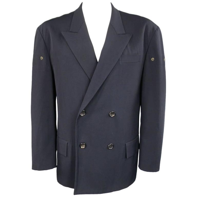 Yohji Yamamoto M Navy Oversized Peak Lapel Double Breasted Vented Sport Coat