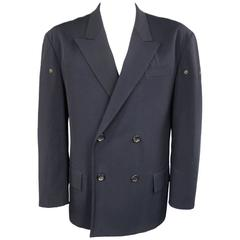 Yohji Yamamoto Navy Oversized Peak Lapel Double Breasted Vented Sport Coat