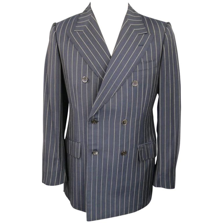 Prada 38 Regular Navy Pinstripe Peak Lapel Double Breasted Sport Coat 1