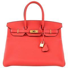 Hermès Rouge Pivoine Togo 35 cm  Birkin Bag, GHW