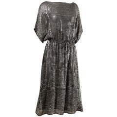 Judith Ann Vintage 1970s Black Silk Chiffon Dress with Metallic Silver Sequins