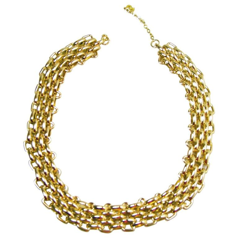 Vintage 1960s Christian Dior Germany Gold Plated Necklace For Sale ...