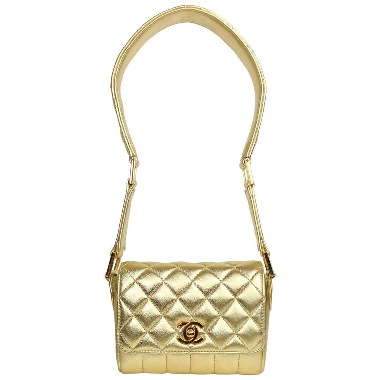 Chanel Gold Metallic Lambskin Quilted Flap Mini Shoulder Bag
