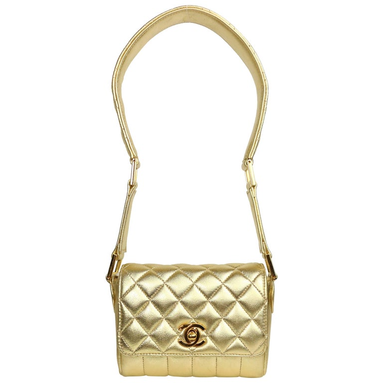 Chanel Gold Metallic Lambskin Quilted Flap Mini Shoulder Bag For Sale