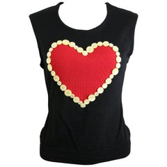90s Moschino Cheap and Chic  Black Wool Red Heart Tank Top