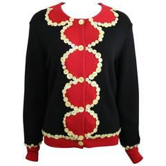 Moschino Cheap and Chic Black/Red with Mother of Pearl Buttons Wool Cardigan