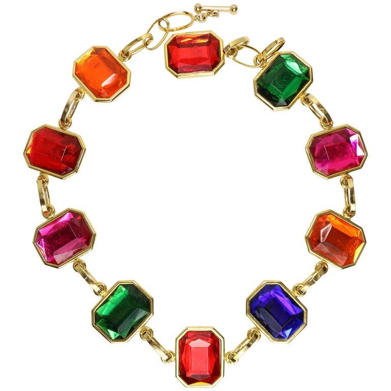 80s Octagon Multicoloured Gold Toned Link Belt/Necklace For Sale