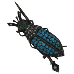 Victorian Seed Pearl and Turquoise Bug