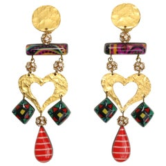 Christian Lacroix Multicoloured Heart Drop Clip On Earring