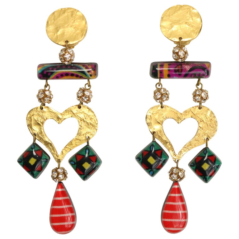 Christian Lacroix Multicoloured Heart Drop Clip On Earring  For Sale