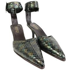 Gucci by Tom Ford Green Python Snakeskin Slingback Pumps