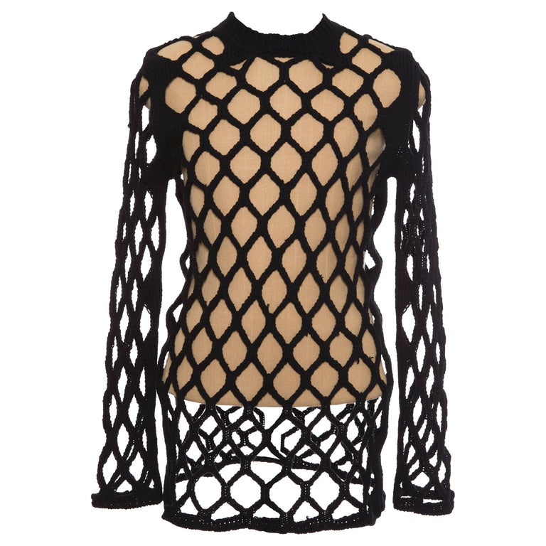 Comme des Garcons Homme Plus Runway Black Open Knit Sweater, Spring 2015 For Sale