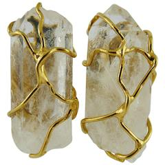 Yves Saint Laurent YSL Vintage Rock Crystal Earrings by Robert Goossens
