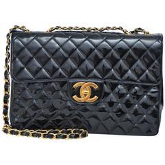 CHANEL Jumbo Black Patent Leather Handbag With Large CC   Mint