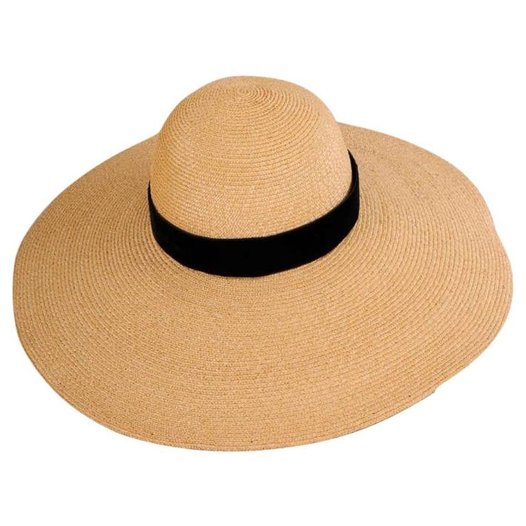 French Natural Straw Hat with Oversized Brim and Black Velvet Band For Sale 62916adb35f