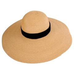 French Natural Straw Hat with Oversized Brim and Black Velvet Band