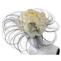 Dramatic Bes Ben Pinwheel Hat with Shaved Feathers. 1950's.