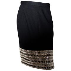 80s C. Randall Brooks Black Pencil Skirt with Silver beading and Rhinestones