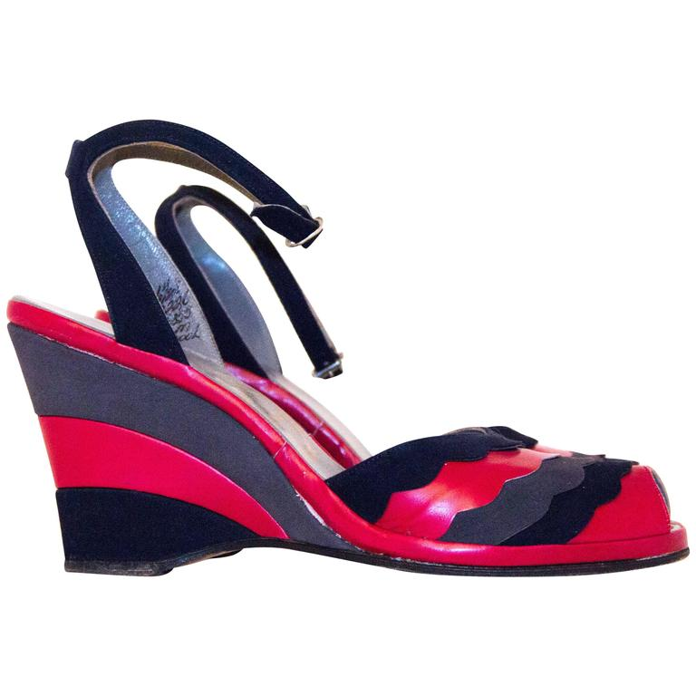 40s Red, Grey & Navy Blue Wedges Size 6