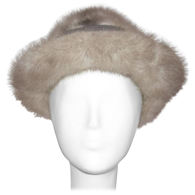 60s Grey Mink Hat  For Sale