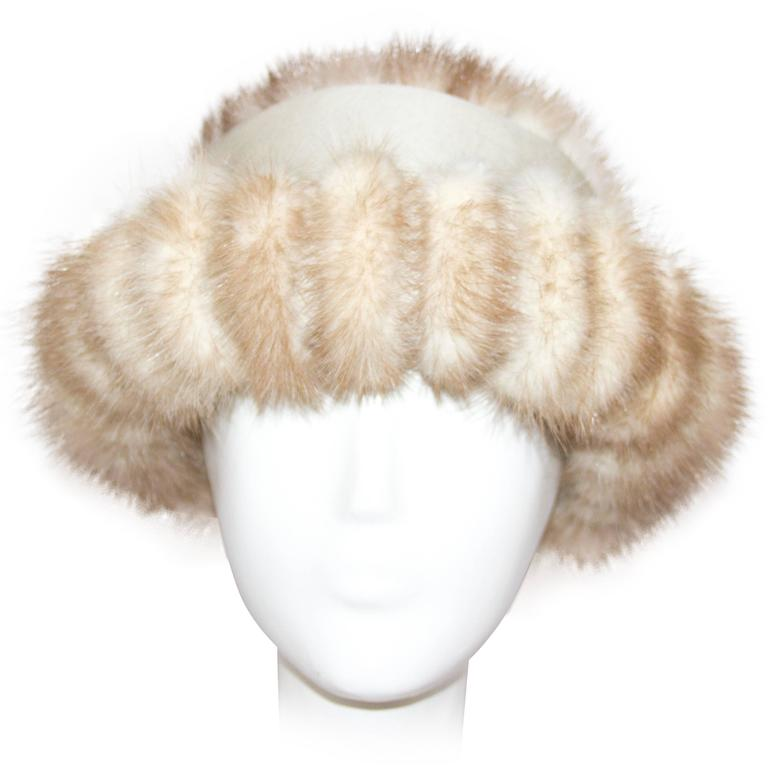 60s Blonde Coffee Mink Hat  For Sale