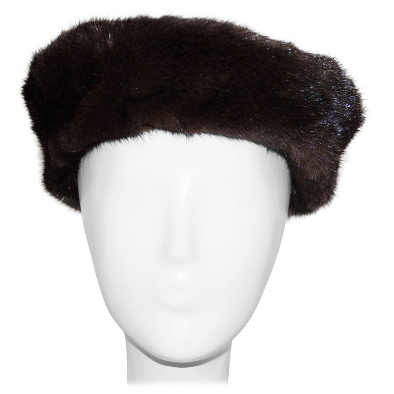 60s Chocolate Brown Mink Pillbox  For Sale