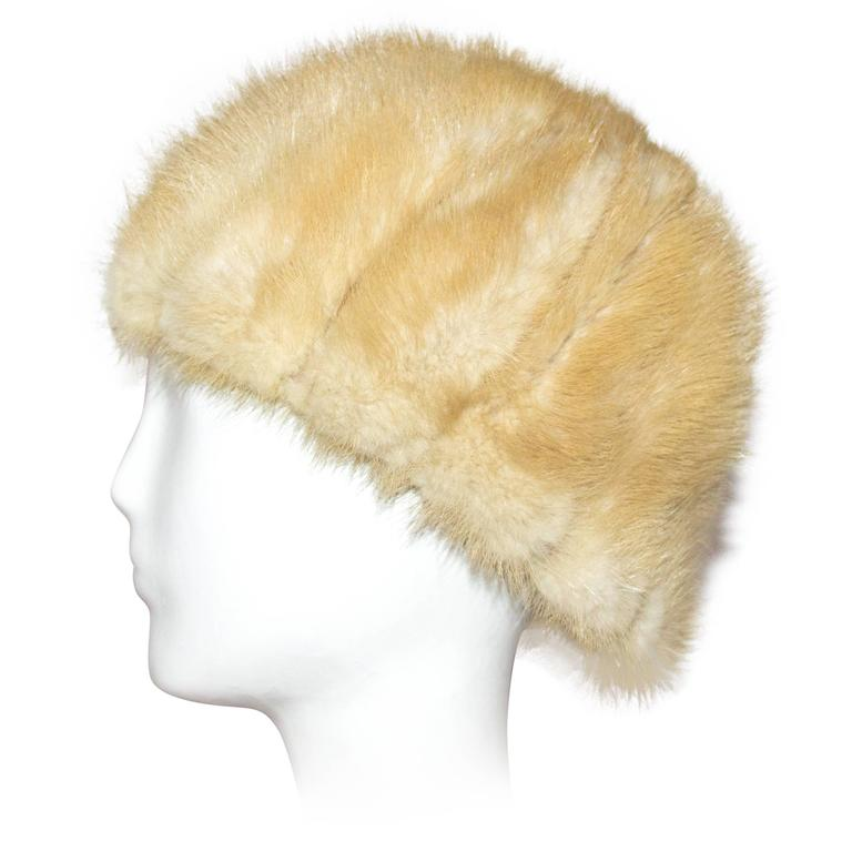 60s Blonde Mink Strip Hat For Sale