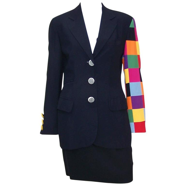 C.1990 Moschino Couture Whimsical Colorblock 'Keep Fashion Tidy' Suit
