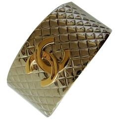 Chanel Silver Matalasse Cuff Bracelet with Gold CC Logo + Box 98P Collection