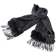 FENDI Vintage Cashmere Black Shawl / Scarf Shaved Mink Roses Iconic